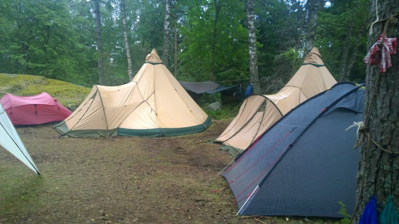 Kårens tält Barkarby Skälby scoutkår