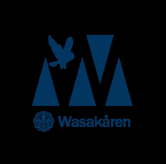 Wasakåren logotyp scoutblå medtext